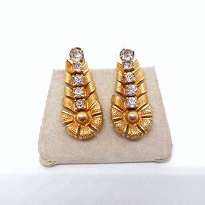 Jewelry - Articulated Gold/Rhinestone Screw Earrings